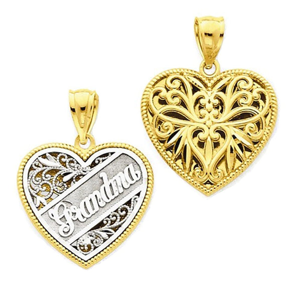 14k Gold Two Tone Grandma Heart Reversible Pendant Charm