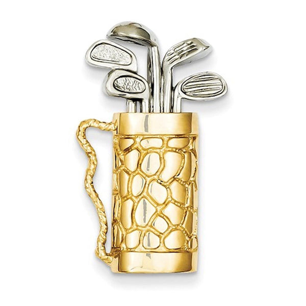 14k Gold Two Tone Golf Clubs Bag Golfing 3D Pendant Charm