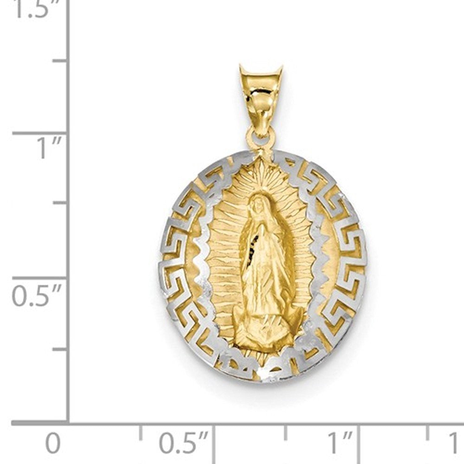 14k Gold Two Tone Our Lady of Guadalupe Pendant Charm