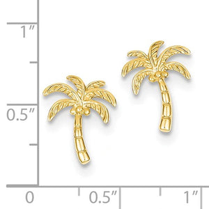14k Yellow Gold Palm Tree Stud Post Earrings