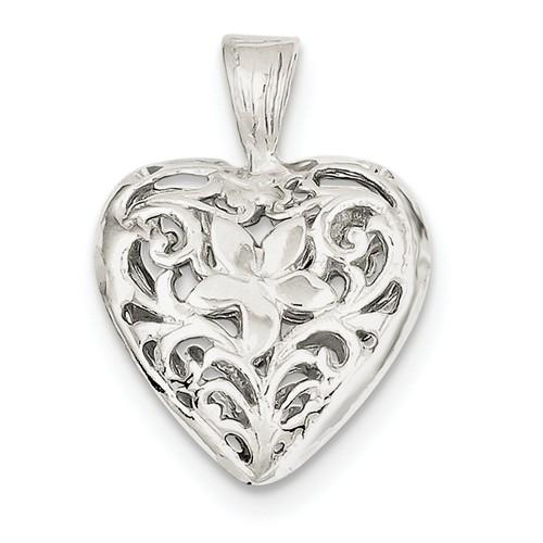 Sterling Silver Puffy Filigree Heart 3D Pendant Charm