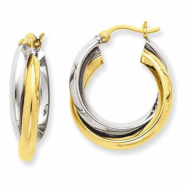 14K Gold Two Tone 21mmx19mmx6mm Modern Contemporary Double Hoop Earrings