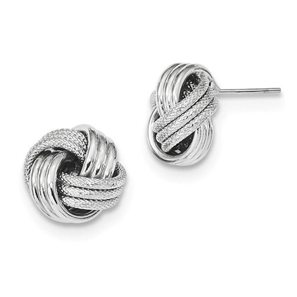 14k White Gold 13mm Classic Love Knot Stud Post Earrings