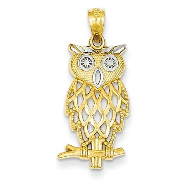 14k Yellow Gold and Rhodium Owl Pendant Charm