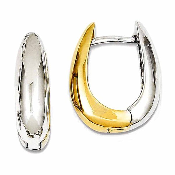 14k Gold Two Tone U Shaped Hinged Hoop Huggie Earrings
