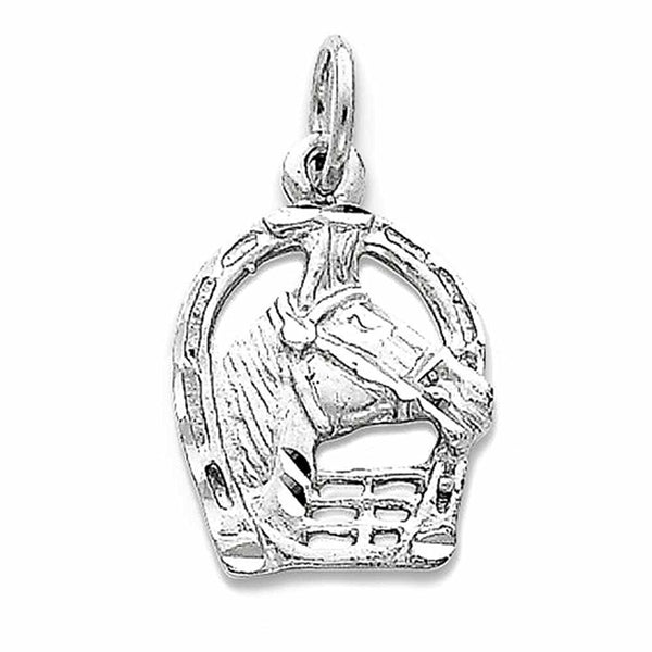 14k White Gold Horse Head Horseshoe Pendant Charm