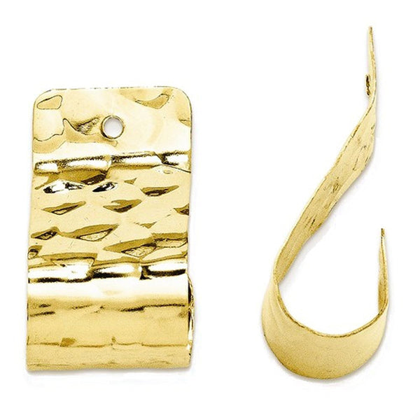 14k Yellow Gold Polished Hammered Earring Jackets