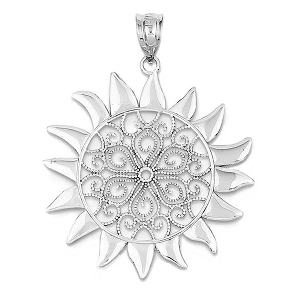 14k White Gold Filigree Sun Pendant Charm