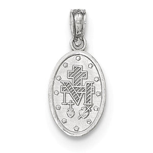 14k White Gold Virgin Mary Miraculous Medal Tiny Pendant Charm