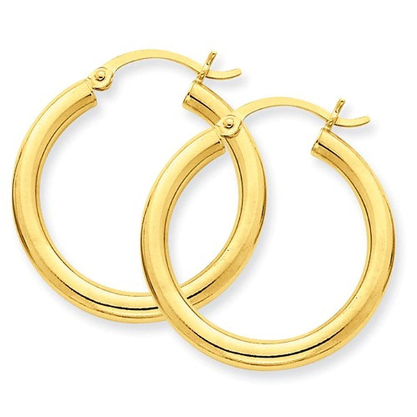 14K Yellow Gold 25mm x 3mm Classic Round Hoop Earrings