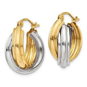 14K Gold Two Tone 18mmx10mmx9mm Modern Contemporary Double Hoop Earrings