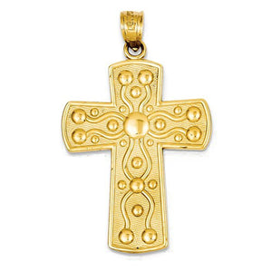 14k Yellow Gold Cross Serenity Prayer Pendant Charm