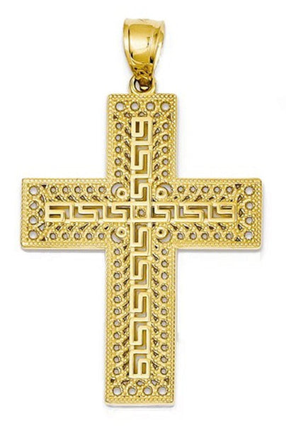 14k Yellow Gold Greek Key Cross Open Back Pendant Charm