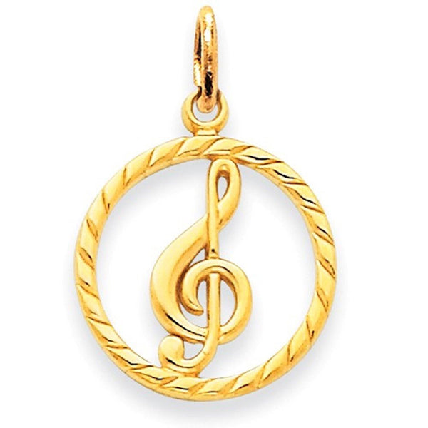 14k Yellow Gold Music Treble Clef Symbol Pendant Charm