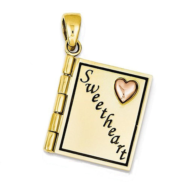14k Gold Two Tone Sweetheart I Love You Pendant Charm