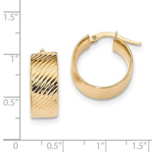 14K Yellow Gold 19mmx18mmx8mm Modern Contemporary Round Hoop Earrings