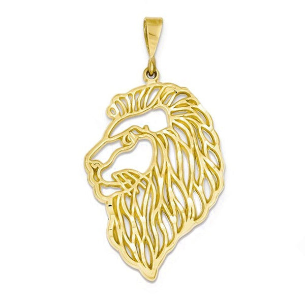 14k Yellow Gold Lion Head Cut Out Pendant Charm