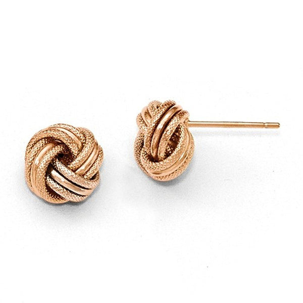 14k Rose Gold 8mm Classic Love Knot Stud Post Earrings