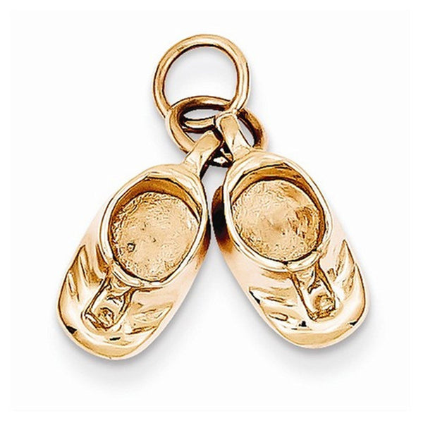 14k Rose Gold Baby Shoes 3D Pendant Charm