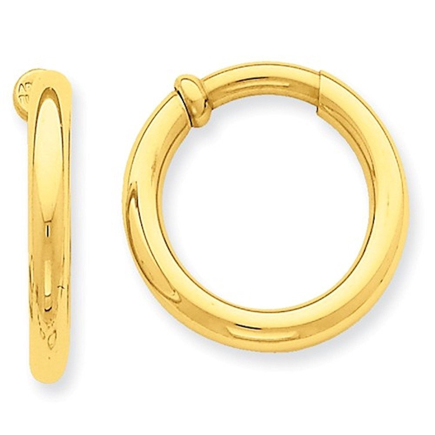 14K Yellow Gold 20mm x 3mm Non Pierced Round Hoop Earrings