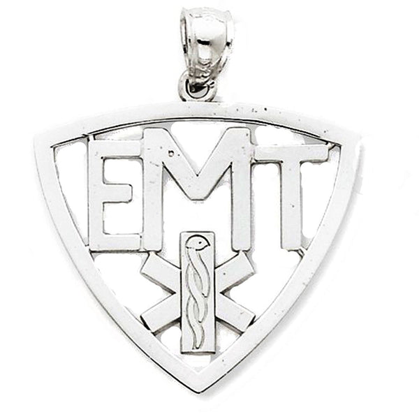 14k White Gold EMT Medical Symbol Pendant Charm