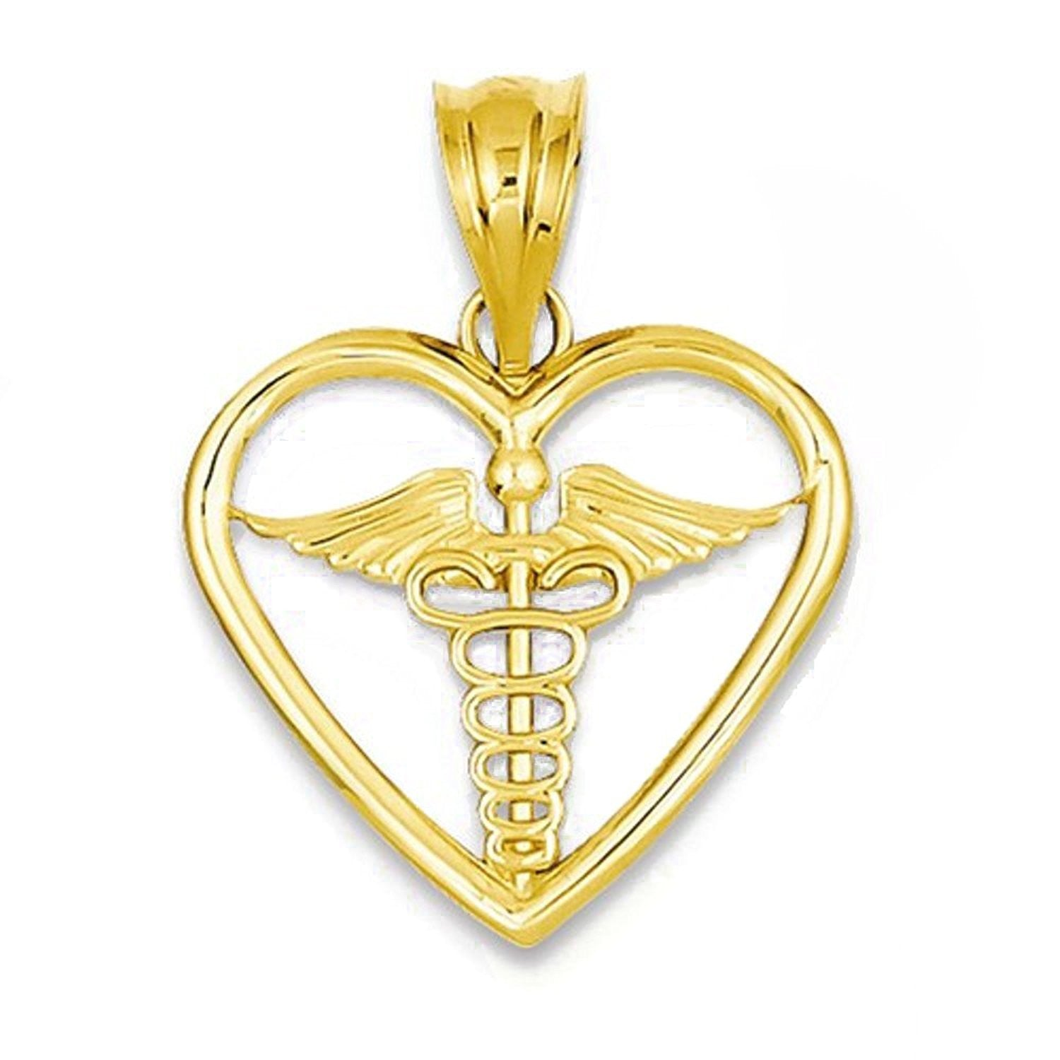 14k Yellow Gold Medical Caduceus Symbol Heart Pendant Charm