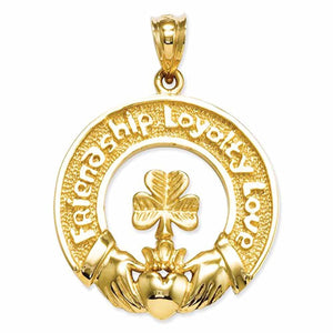 14k Yellow Gold Claddagh Shamrock Friendship Loyalty Love Pendant Charm