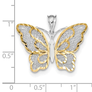 14k Yellow Gold and Rhodium Butterfly Filigree Pendant Charm