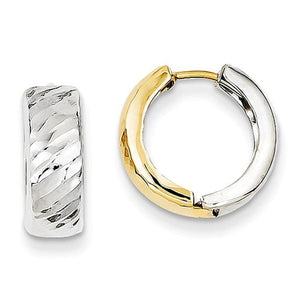 14k Gold Two Tone Textured Hinged Hoop Huggie Earrings