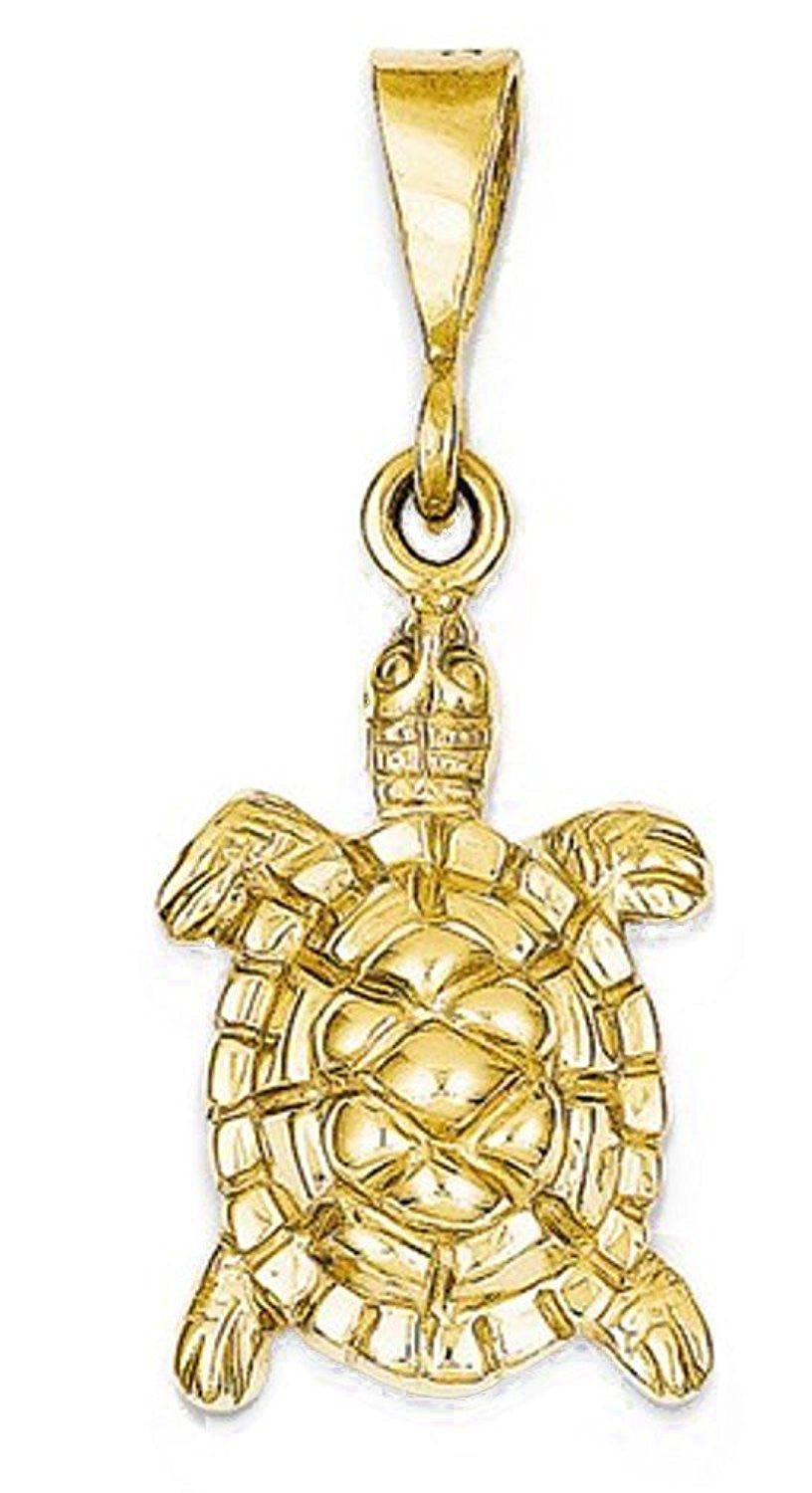 14k Yellow Gold Turtle Open Back Pendant Charm