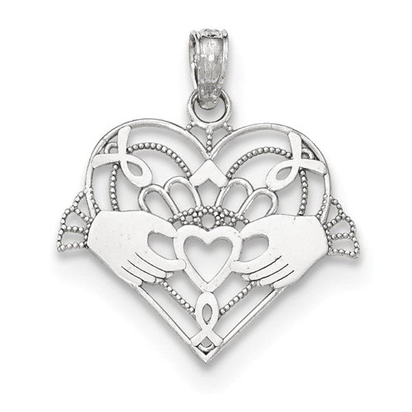 14k White Gold Claddagh Heart Pendant Charm