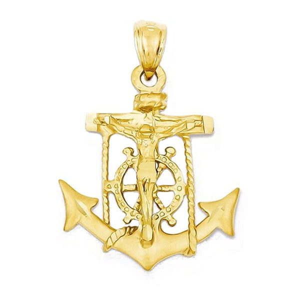 14k Yellow Gold Mariners Cross Pendant Charm