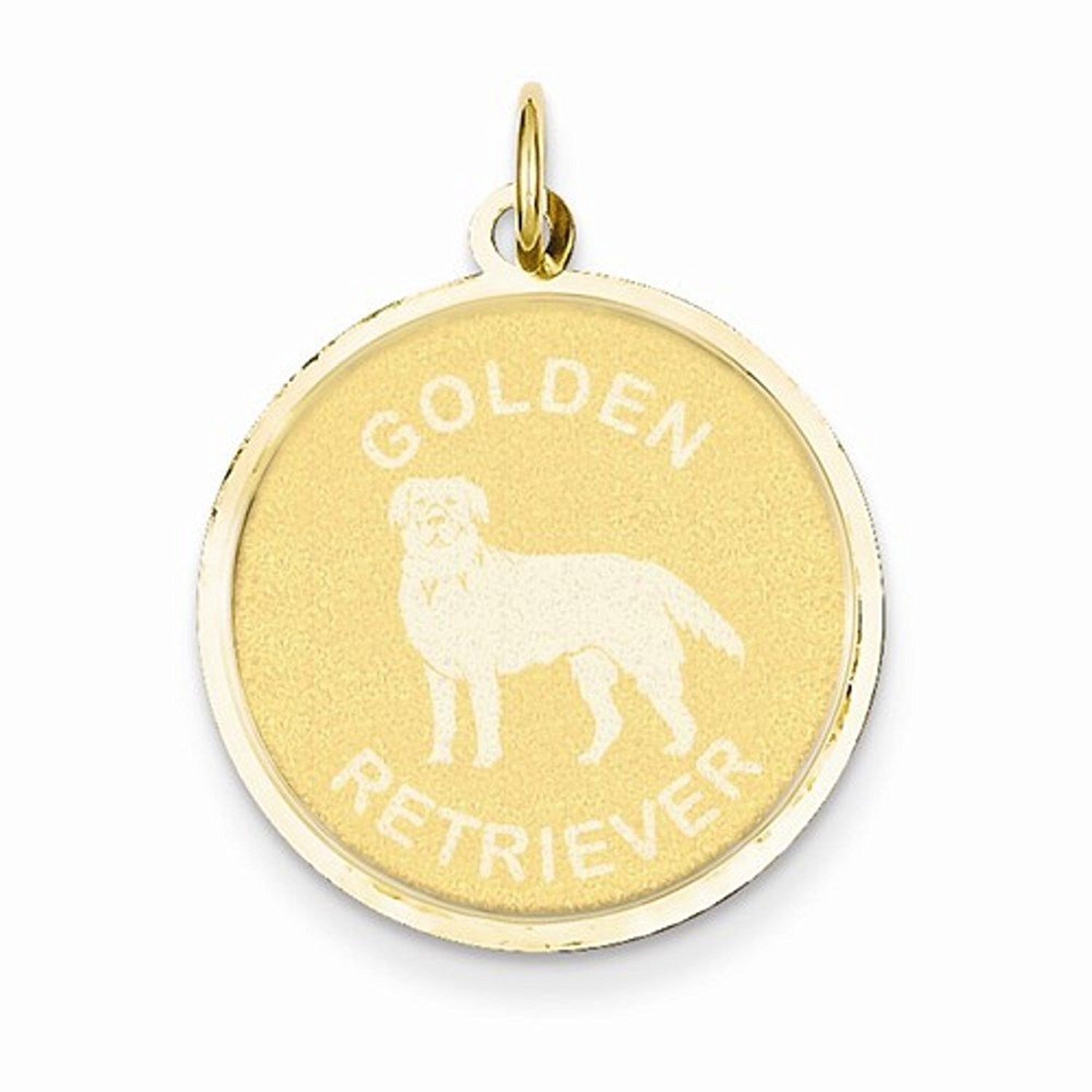 14k Yellow Gold Golden Retriever Dog Round Disc Pendant Charm