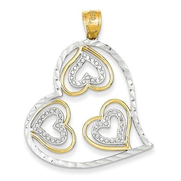 14k Yellow Gold Rhodium Hearts in a Heart Pendant Charm