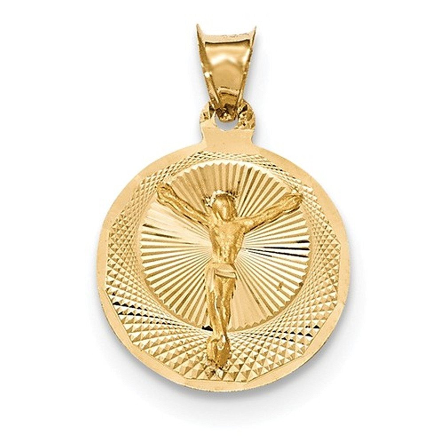 14k Yellow Gold Corpus Crucified Christ Round Pendant Charm