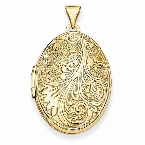 14k Yellow Gold Scroll Oval Photo Locket Pendant Charm