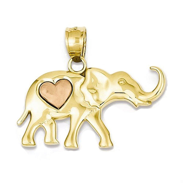 14k Yellow Rose Gold Elephant Heart Open Back Pendant Charm
