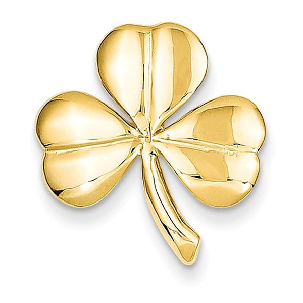 14k Yellow Gold Shamrock Clover Chain Slide Pendant Charm