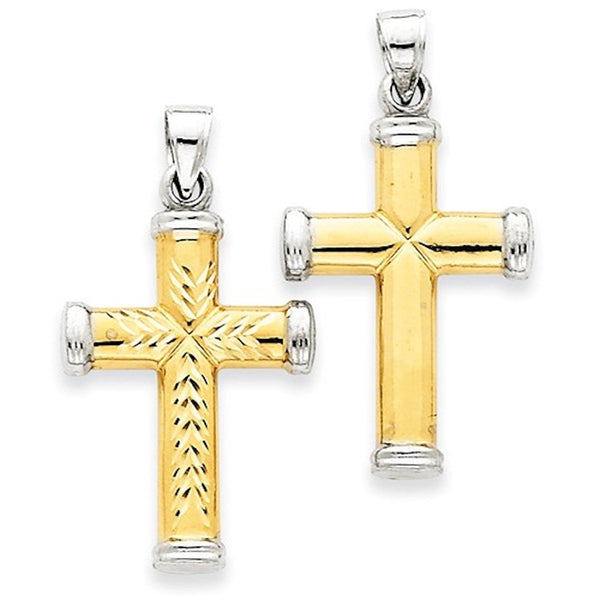 14k Gold Rhodium Two Tone Reversible Cross Pendant Charm