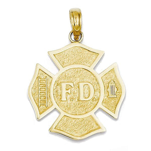 14k Yellow Gold Firefighter Fire Department Badge Pendant Charm