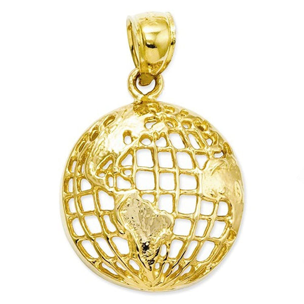 14k Yellow Gold Globe World Travel Open Back Pendant Charm