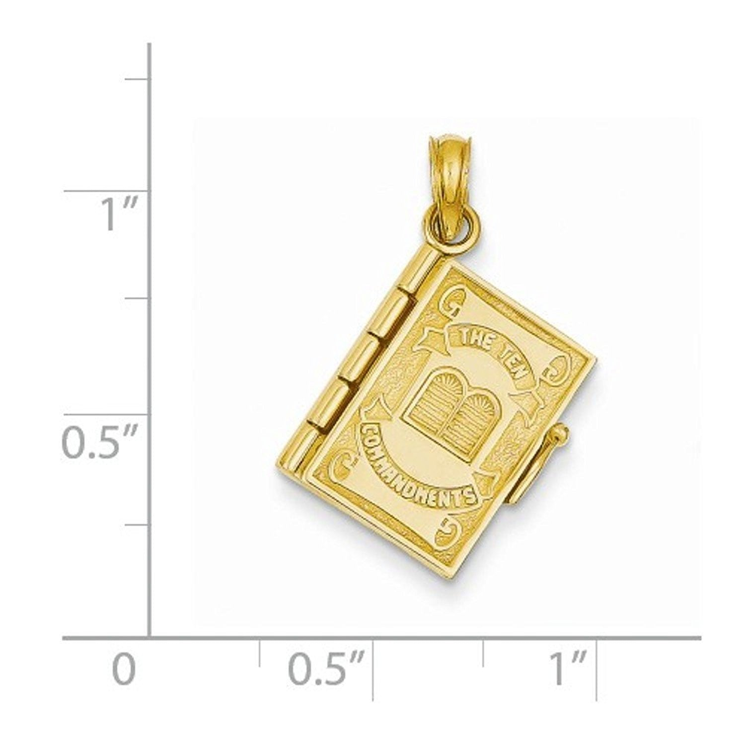 14k Yellow Gold Ten Commandments Bible 3D Pendant Charm