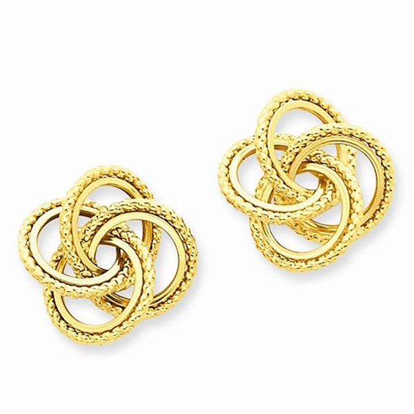 14k Yellow Gold Twisted Love Knot Stud Post Earrings