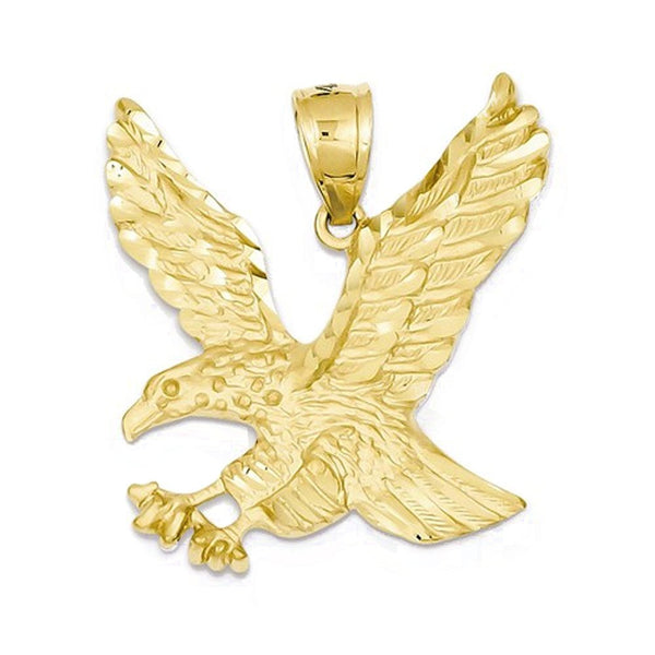 14k Yellow Gold Eagle Open Back Pendant Charm
