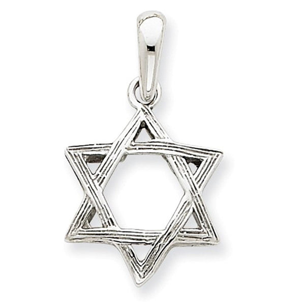 14k White Gold Star of David Pendant Charm