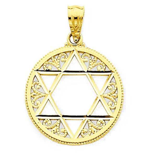 14k Yellow Gold Star of David Filigree Pendant Charm