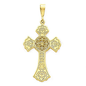 14k Yellow Gold Celtic Cross Flat Back Pendant Charm