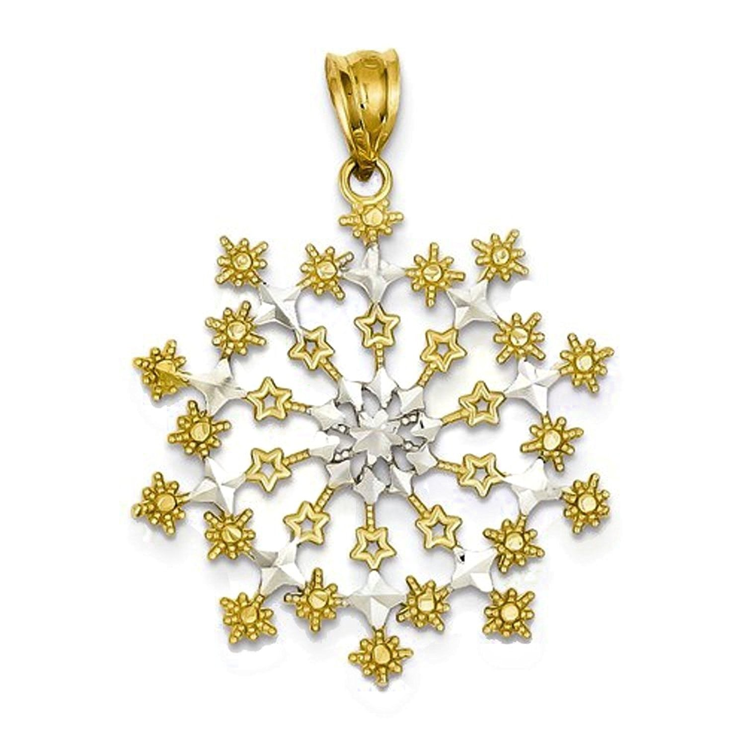 14k Yellow Gold and Rhodium Starburst Snowflake Pendant Charm