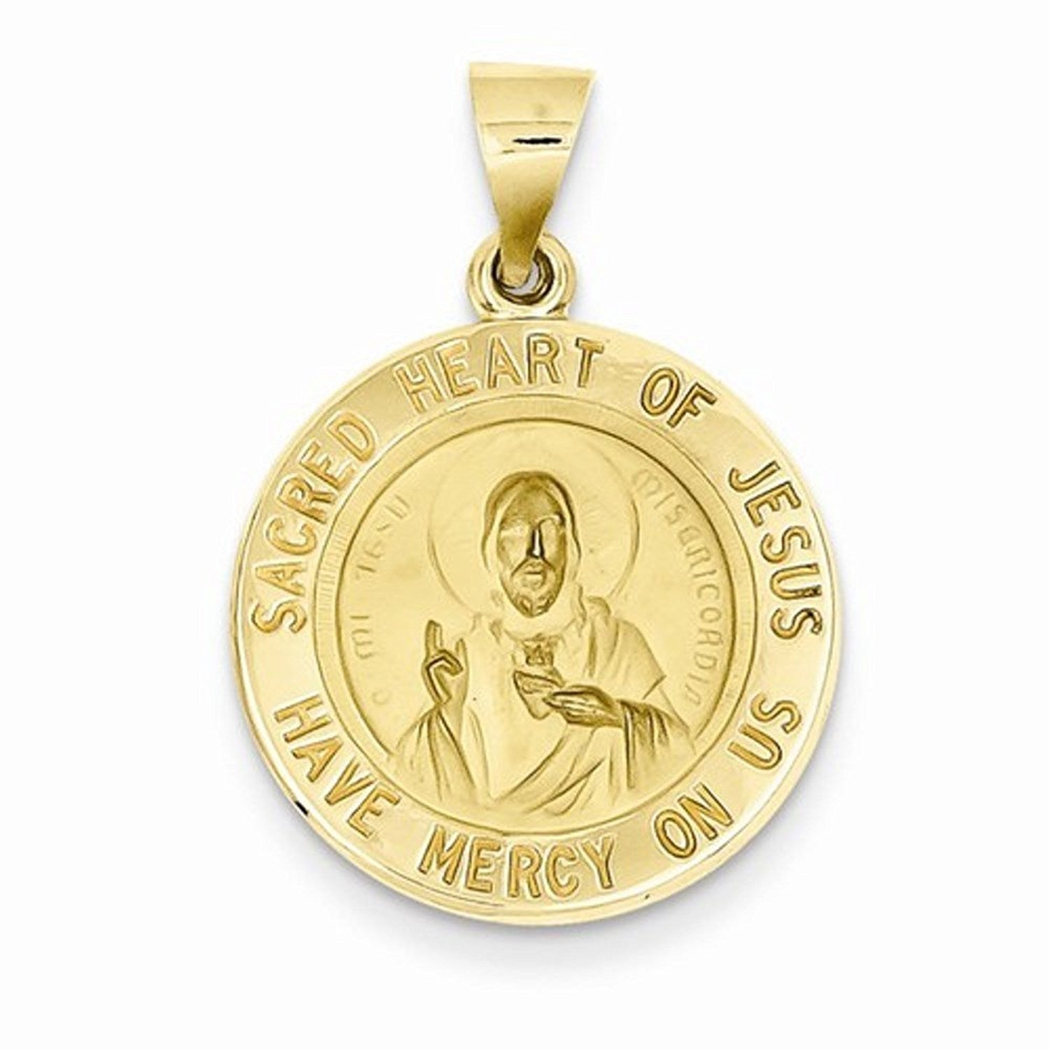 14k Yellow Gold Sacred Heart of Jesus Hollow Pendant Charm