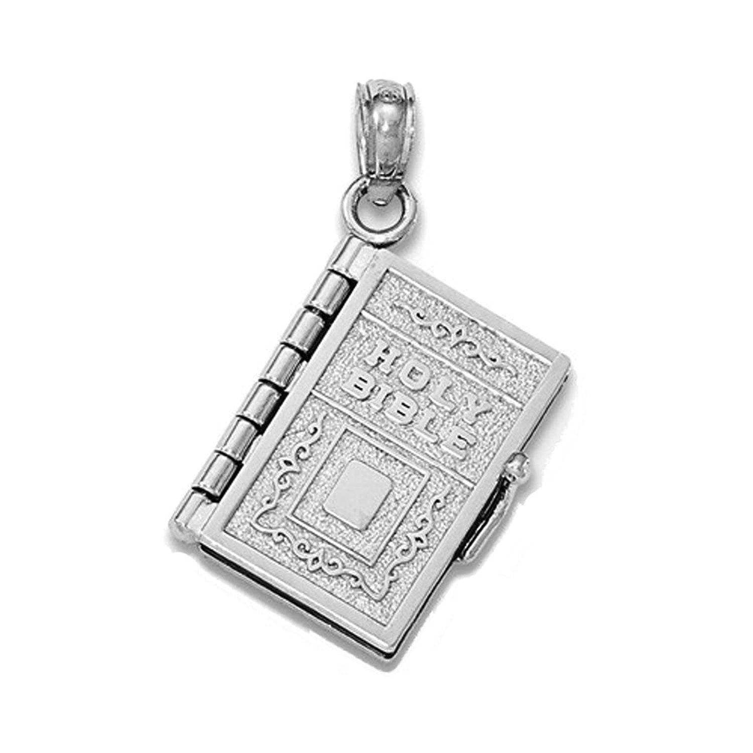 14k White Gold Lords Prayer Holy Bible Book Pendant Charm